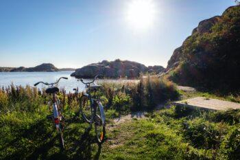 Parkerade cyklar en vacker sommardag.