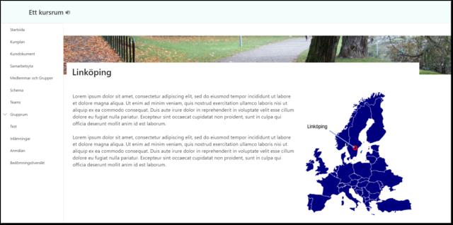 Sida i Lisam som är illustrerad med en Europkarta med en pil till Linköping.