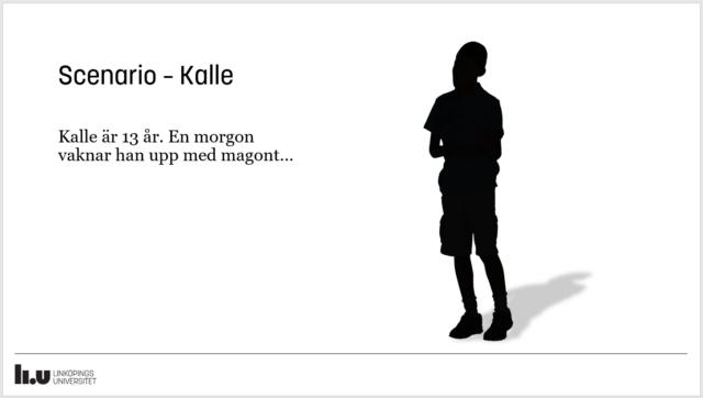 Presentationsbild med text från ett scenario samt en siluett av en pojke.