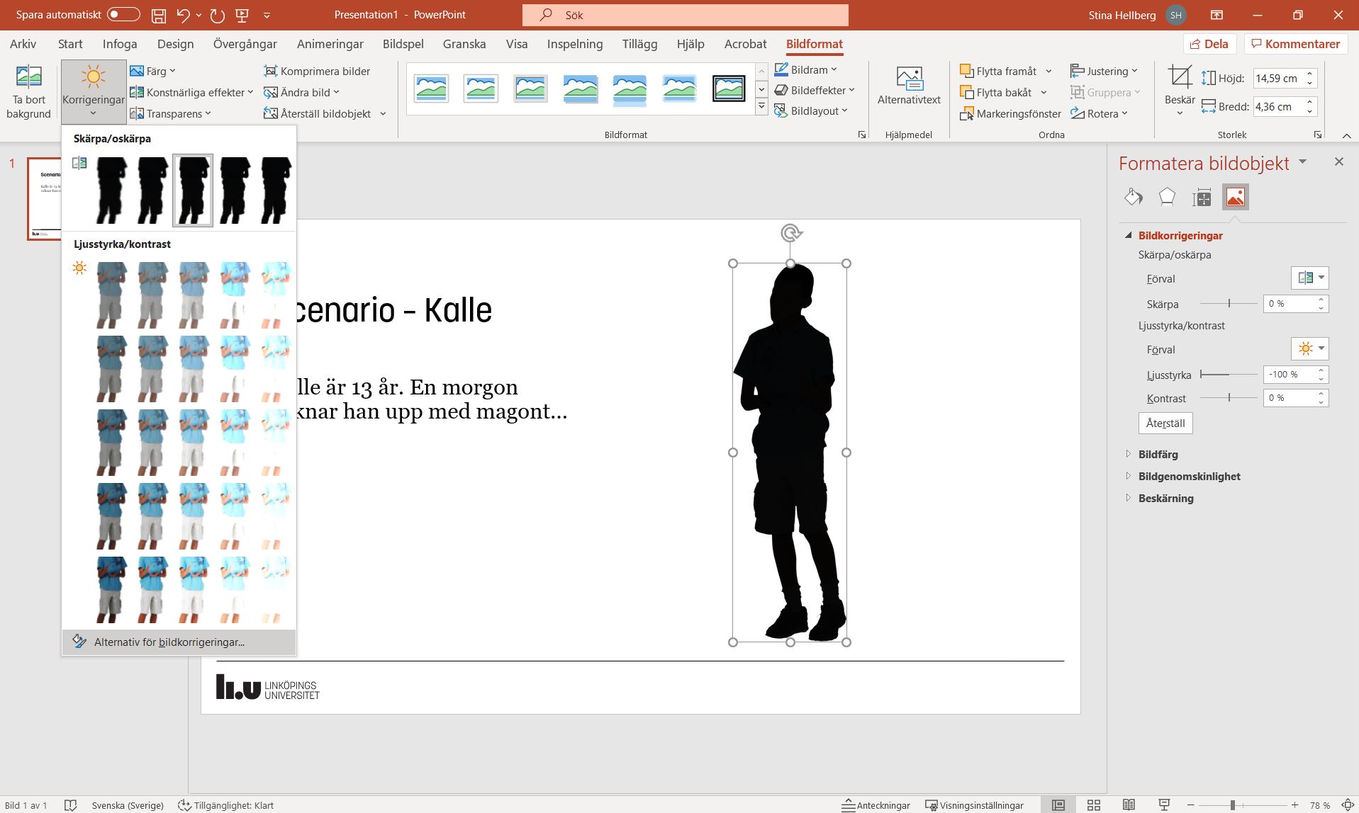 Skärmbild från PowerPoint. Under fliken Bildformat gå till Alternativ för bildkorrigeringar. I menyn till höger är reglaget för Ljusstyrka nere på minus 100.