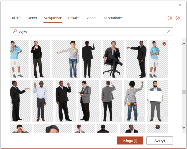 Skärmbild från PowerPoint. Fönster med Arkivbilder, under fliken Skalgubbar finns bilder på personer i olika ställningar.